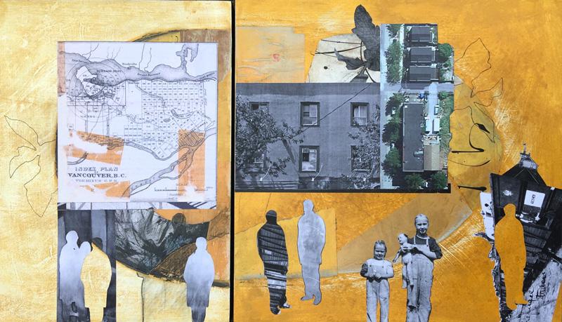 "Dorothy Doherty piece titled ""Landmarks 2"", acrylic and mixed media artwork"