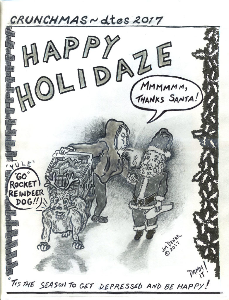 """Jim Dewar cartoon titled """"Happy Holidaze"""", picture of person with dog and shopping cart next to santa"""