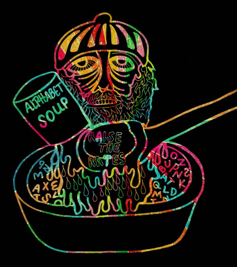 "Jujube Jacinto piece titled ""Alphabet Soup"", created digitally"