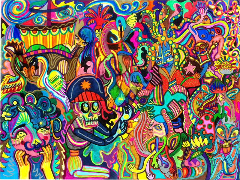 """Jujube Jacinto piece titled """"Pirates Den"""", created with multi-coloured sharpies"""