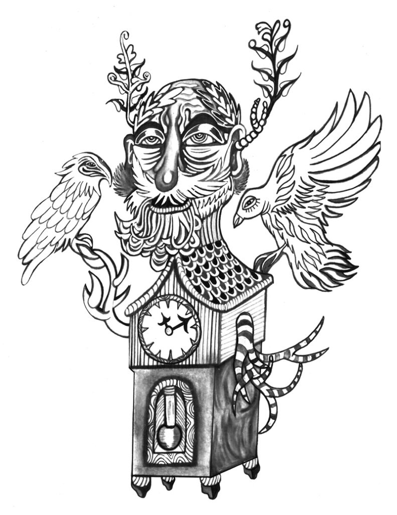 """Jujube Jacinto piece titled """"Grandfather Clock"""", created with India Ink"""