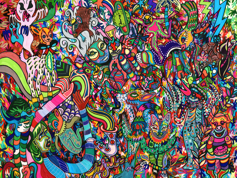 """Jujube Jacinto piece titled """"In the Malestrom"""", created with sharpies and markers"""