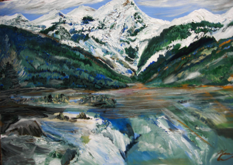 """Karen Colville piece titled """"Jones Lane"""", using acrylic paint, landscape painting of Jones Lake with mountains, forest and a lake"""