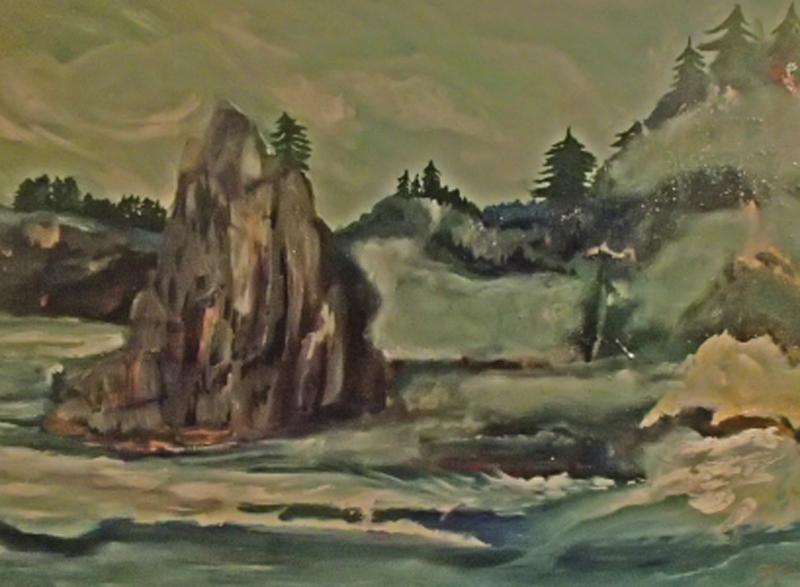 "Karen Colville piece titled ""Haida Gwai"", landscape painting of mountains, rocks and waves along Haida Gwai shoreline"