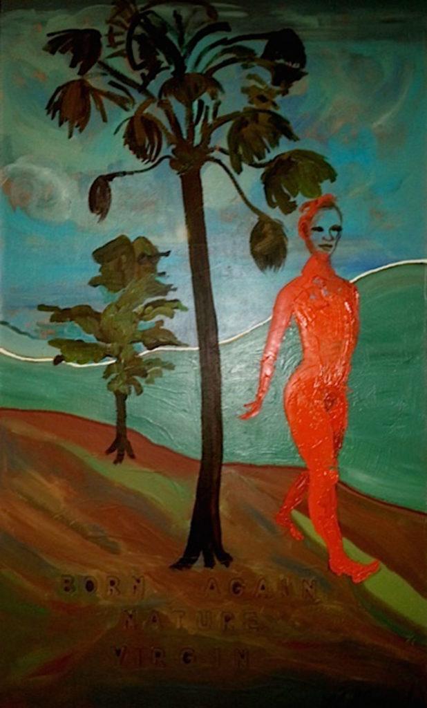 "Kathryn Alma-Nihte piece titled ""Born Again Nature Virgin"", Acrylic & Plastic Air Acrylic on Canvas, orange woman walking in countryside"