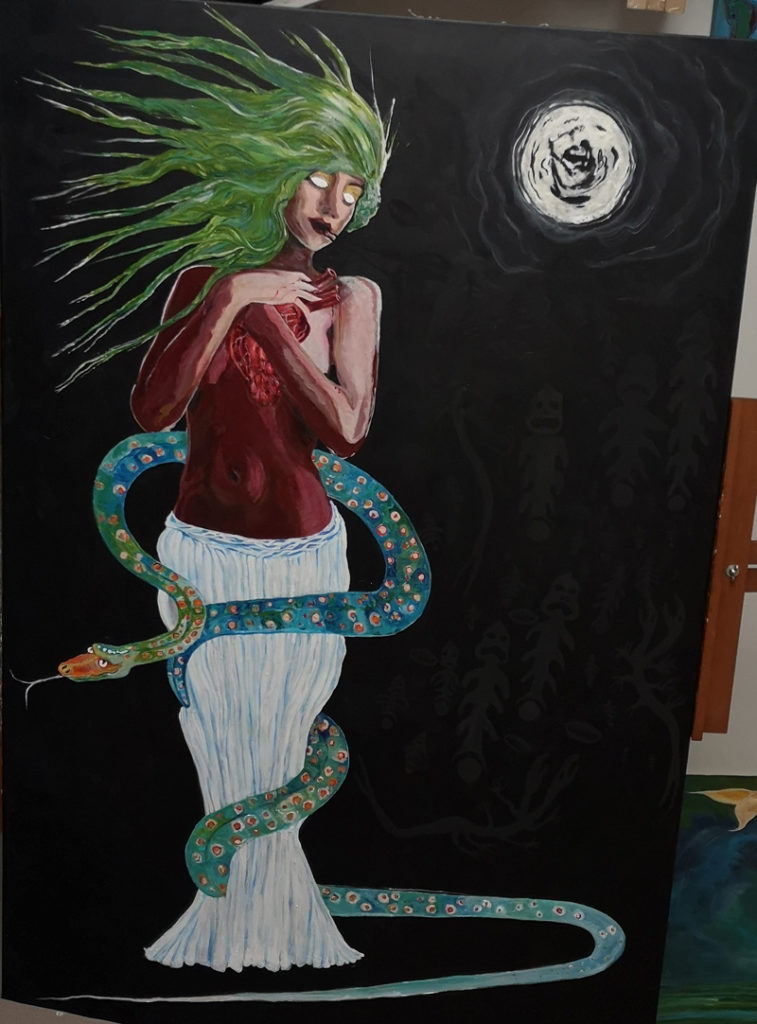 """Kathryn Alma-Nihte piece titled """"air"""", painting of women with snake around her waist"""