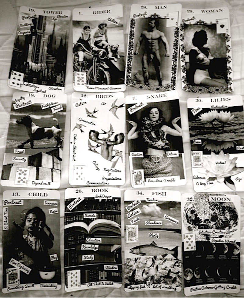 """Kathryn Alma-Nihte piece titled """"Fortune Telling Cards"""", photo of artwork mounted on cardstock"""