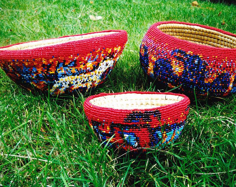 Norman (k̕wa̱da) James Hall's hand-beaded bowls