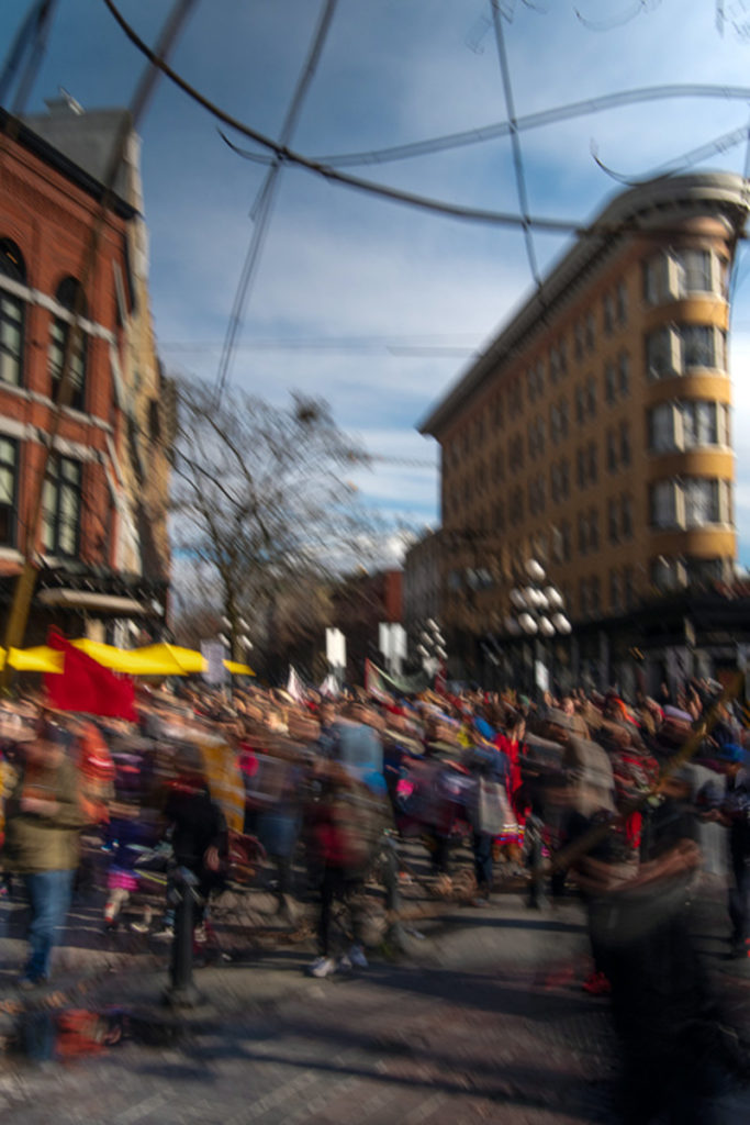 """Tadafumi Tamura photo titled """"Streams of Empathy 02"""", march in downtown vancouver"""