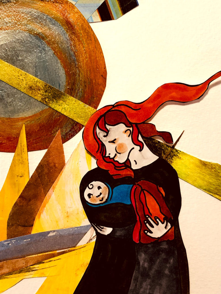 """Alix Scribble piece from """"A Little Book of Drawings"""", woman holding baby"""