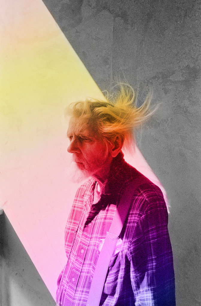 """A`RNO piece titled """"Mercury Retrograde"""" from Sunny Days (Photopoetry Book), inkjet print, man with plaid shirt and multicoloured light shining on him"""