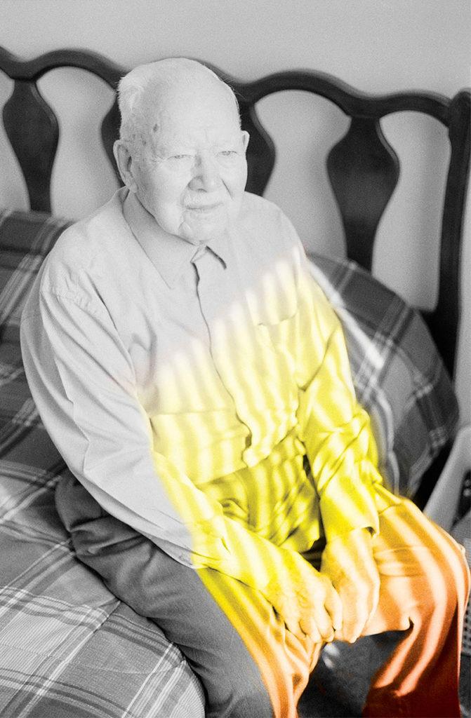"""A`RNO piece titled """"Grandpopo"""", from Sunny Days (Photopoetry Book), inkjet print, man with yellow and orange light shining on him"""