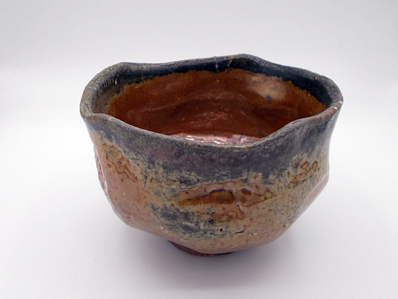 Danny Kostyshin pottery piece, red and blue bowl
