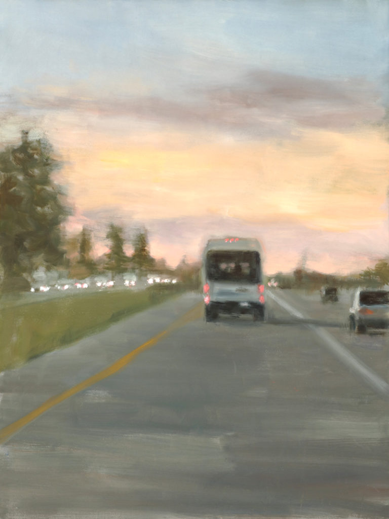 """Eri Ishii piece titled """"Delivery"""", oil on canvas, painting of delivery truck on highway"""