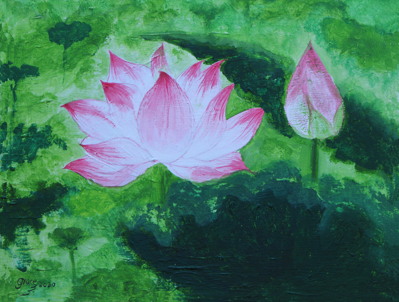 """Grace Chan's piece titled """"Lotus"""" from 2020, pink lotus flower on green background"""