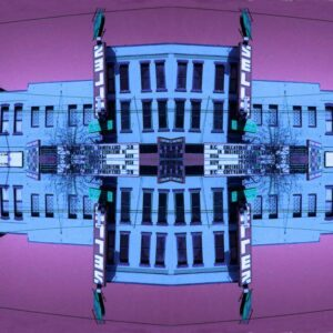 Japhy Ryder Feature image, mixed media of a building in purple and blue