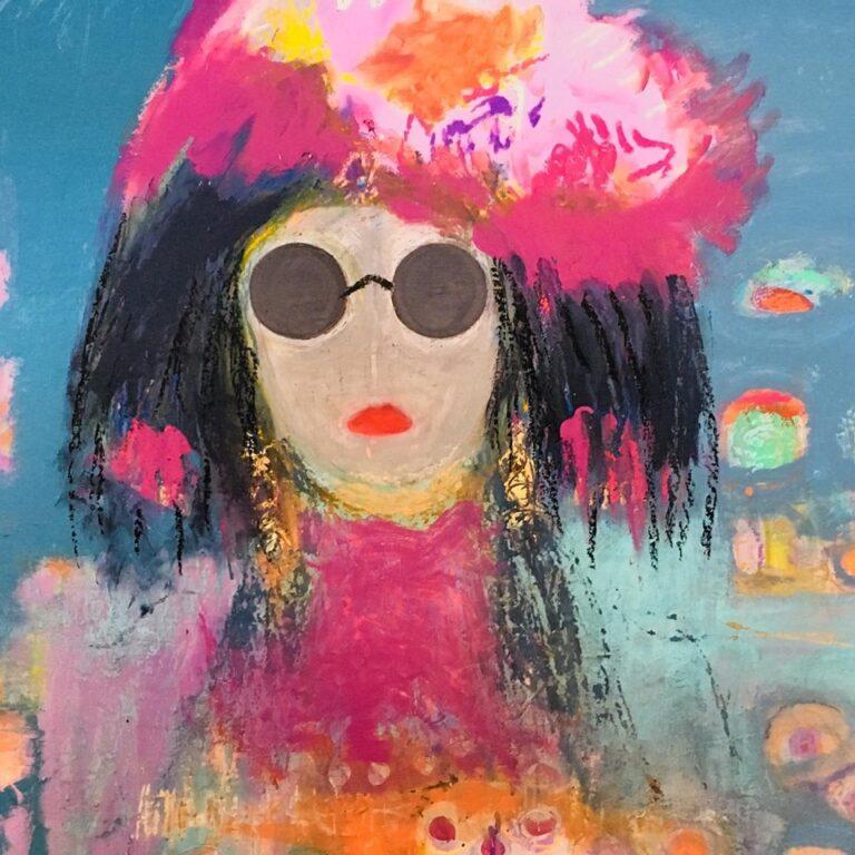 Rosina Santillana's mixed media painting of a woman with sunglasses