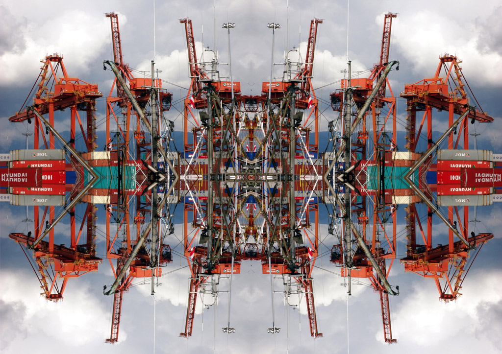 """Japhy Ryder's piece titled """"Another Summer Wasted at Crab Park"""", mixed media image of cranes and shipping containers with clouds and mountains in background"""