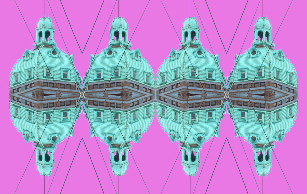 """Japhy Ryder piece titled """"Time to Get Lawyered Up"""", mixed media of a building in pink and teal"""