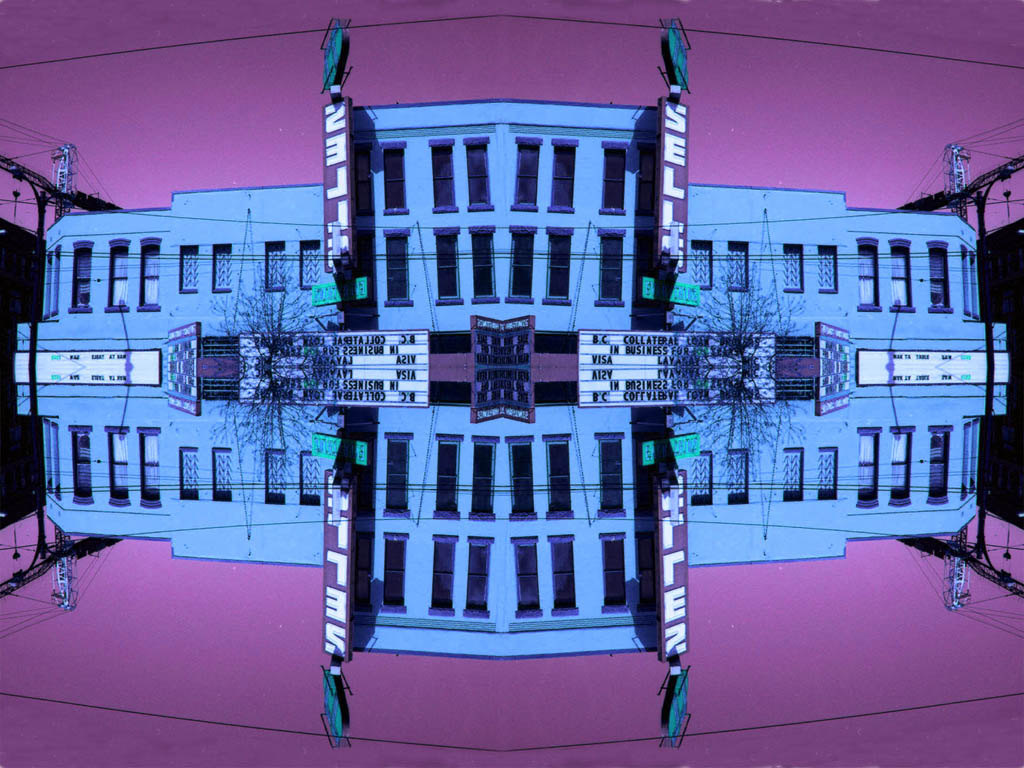 """Japhy Ryder piece titled """"We're got your bike"""", mixed media of a building in purple and blue"""