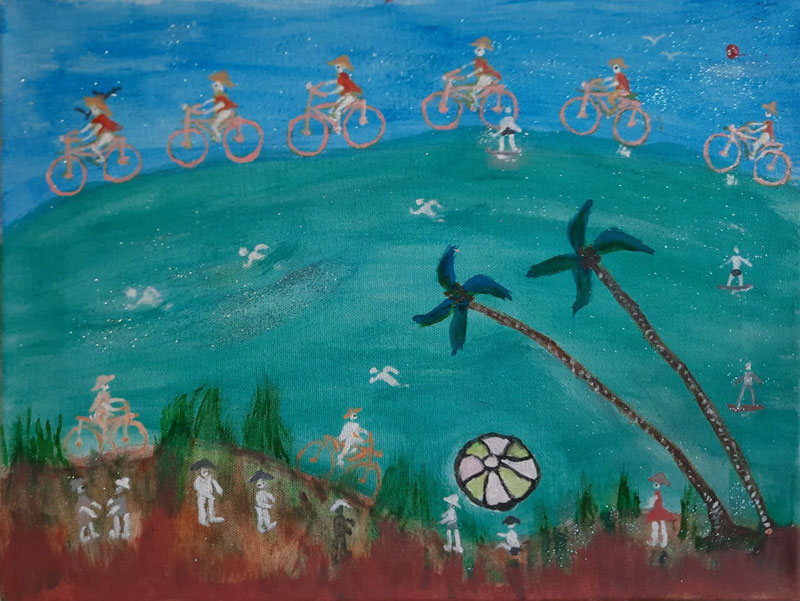 """Rosa Chan's painting titled """"Summer"""", people on bicycles on a green hill with beach ball and palm trees"""