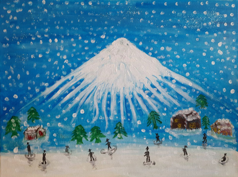 """Rosa Chan's painting titled """"winter"""", mountains and snow with trees"""
