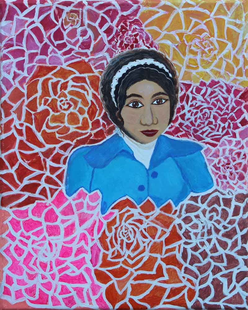 """Rosa Chan piece titled """"Rosa and Roses"""", painting of Rosa in a field of pink, red and purple flowers"""