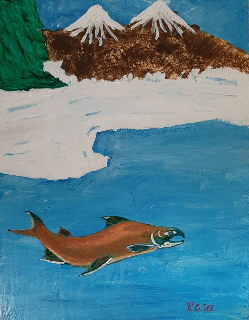 Rosa Chan painting, untitled, fish in water with mountains and trees in background