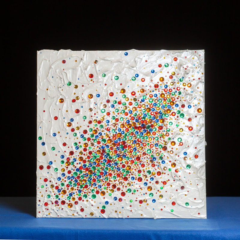 """Charlene Chuck Heilman """"Cake Series"""" Painting, white textured canvas with multicoloured rhinestones embedded in patterns"""